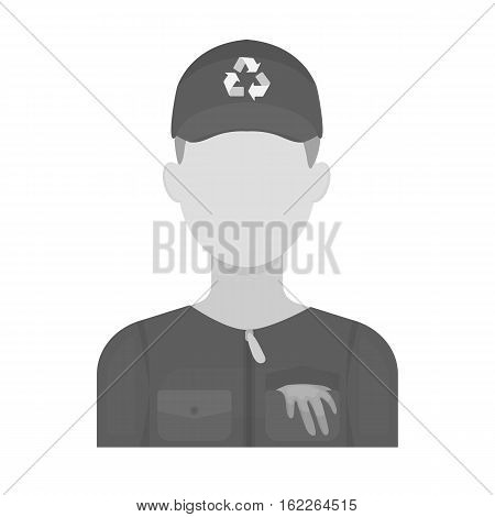 Waste collector icon in monochrome style isolated on white background. Trash and garbage symbol vector illustration.