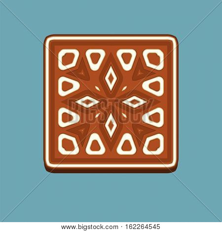 Gingerbread square christmas cookie isolated on blue background. Element for New Year design and art