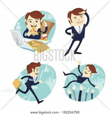 Funny Business Man Wearing Suit Eating Pizza, Looking Forward, Running And Being Trew In The Ar By H