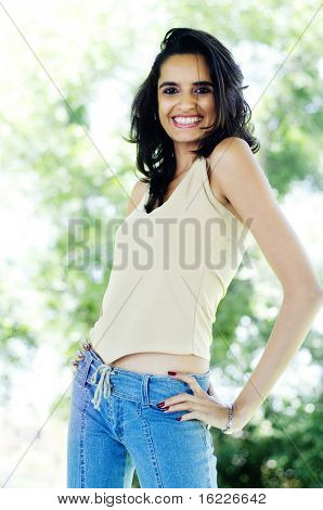 Happy young Asian Indian woman