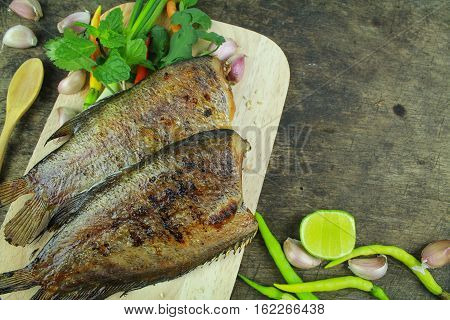 grilled snakeskin fish, Asian food and cuisine