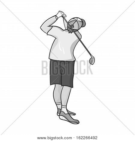 Golfer after kick icon in monochrome style isolated on white background. Golf club symbol vector illustration.