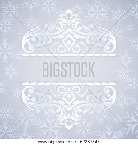 Christmas blue and white ornate card with copy space template.