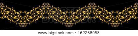 Floral Border With Gilded Elements In Retro Style For Embellishment Design. Wavy Molding With Swirls