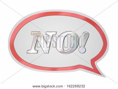 No Answer Word Speech Bubble Denied Rejection 3d Illustration