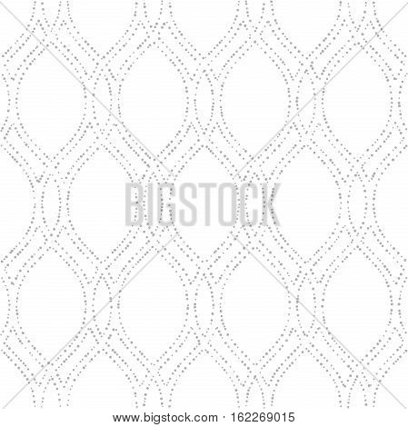 Seamless ornament. Modern geometric pattern with repeating dotted wavy lines. Light silver pattern