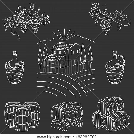 Vineyard farm village landscape vector illustration hand drawn doodle. Wine and wine making set grapes, barrels, cellar isolated. Wine design elements on chalkboard.
