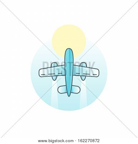 Airplane - vector logo concept illustration. Vector logo template. Aircraft sign for transportation or travel company. Travel agency logo. Line art sign. Design elements.