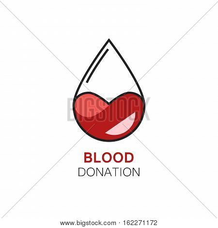Vector illustration of blood drop with stylized heart inside. Blood donation logo. Concept of human mutual aid, kindness
