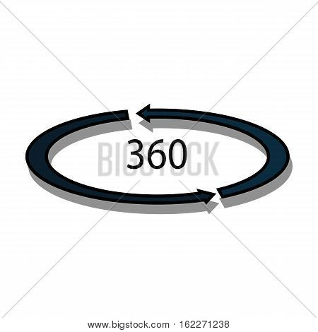 Rotation in the virtual reality icon in cartoon style isolated on white background. Virtual reality symbol vector illustration.