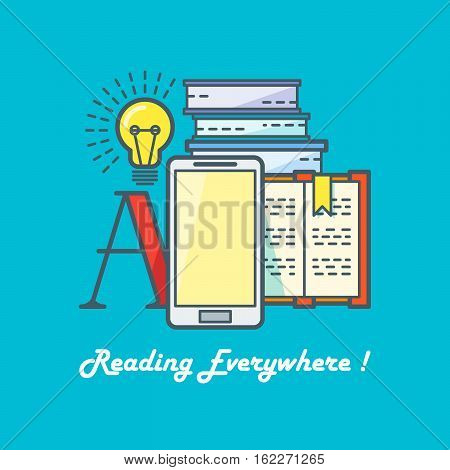 E-book reading concept. Line art vector illustration