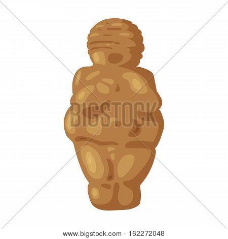 Venus of stone age icon in cartoon style isolated on white background. Stone age symbol vector illustration.