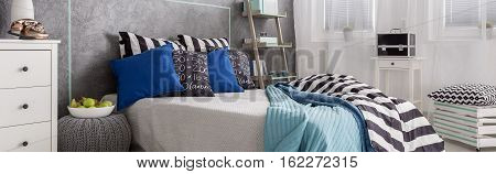 Scandynavian Style Bedroom With Bed