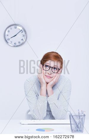 Distracted Woman Sitting At Office