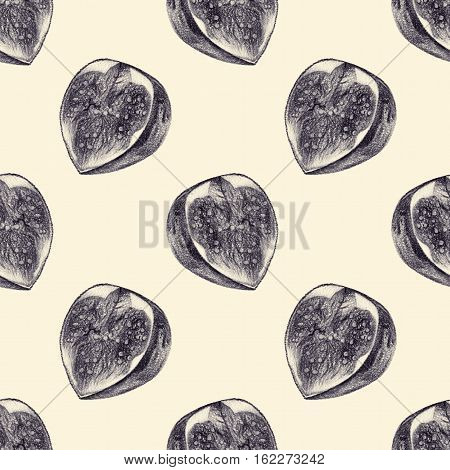 Seamless pattern with cut figs drawn by hand with pencil. Healthy vegan food. Fresh tasty fruits and berries painted from nature. Tinted black and white