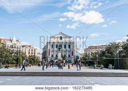 Madrid Spain - November 13 2016: Royal Theater of Madrid. Teatro Real is a major opera house it is one of the great theaters of Europe and its seasons involve leading international figures.