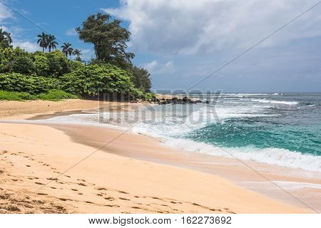 View of Kilauea Beach at the North of Kauai, Hawaii