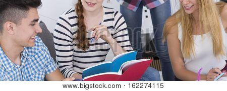 Friends Studying Books Together
