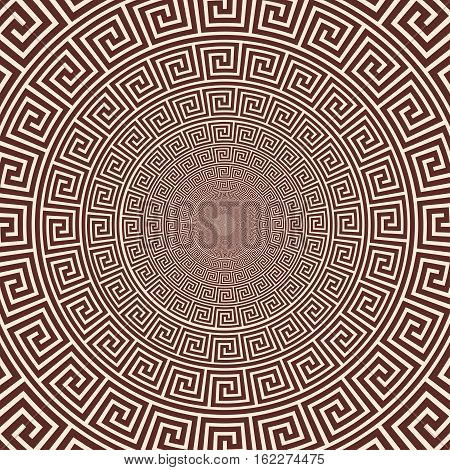 Vector Greek style background. Circular ornament. Brown pattern on a beige background.