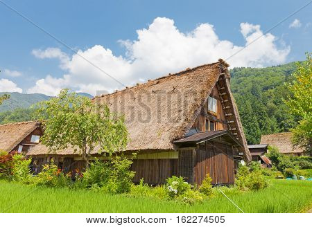 OGIMACI JAPAN - AUGUST 01 2016: Old house of unique gassho style with thatched roof in Ogimachi village of Shirakawa-go district. World Heritage Site of UNESCO