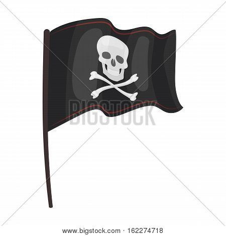 Pirate flag icon in cartoon style isolated on white background. Pirates symbol vector illustration.
