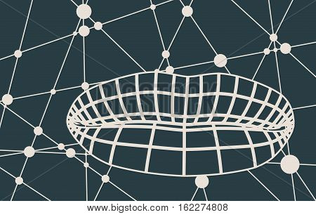 Wire frame polygonal female lips. Molecule And Communication Background. Modern vector brochure or report design template. Connected lines with dots.
