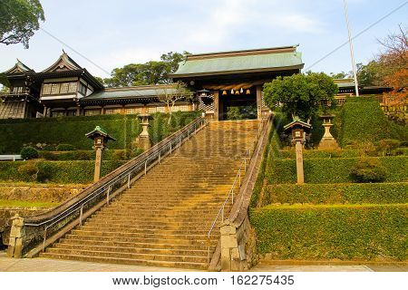 Suwa Shrine (Nagasaki) the major Shinto shrine of Nagasaki Japan and home to the Nagasaki Kunchi located in the northern part of the city on the slopes of Mount Tamazono-san and features a 277-step stone staircase leading up the mountain to the various bu