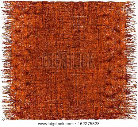 Weave grunge striped shaggy ornamental tapestry with fringe in orangebrown colors poster