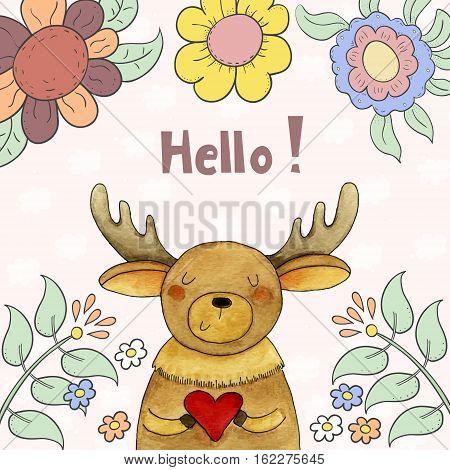 Sweet funny deer with heart in vector