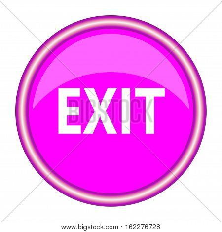 Emergency exit sign. Pink round sign. Vector illustration.
