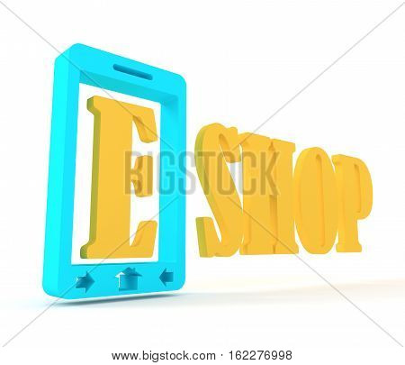Mobile Phone simple isometric icon. E Commerce Concept. 3d rendering
