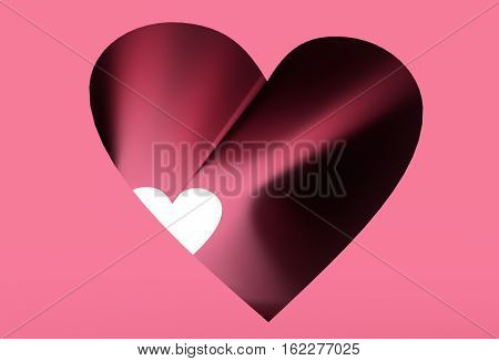 Heart shape tunnel. Background relative to valentines day. 3d rendering,