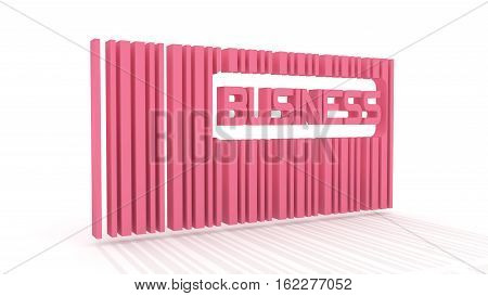 pink bar code with long shadow and business word within. 3D rendering