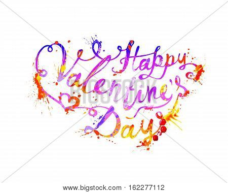 Happy Valentine's Day. Vector splash paint lettering