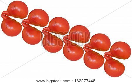 Uncommon red tomatoes isolated on white with space for writing