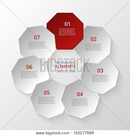 Infographics step by step. Universal abstract element of chart graph diagram with 7 steps options parts processes. Vector business template for presentation and training.