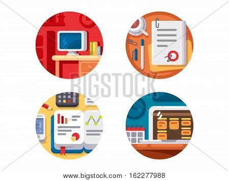 Creating business or creative project. Icons idea and startup. Vector illustration
