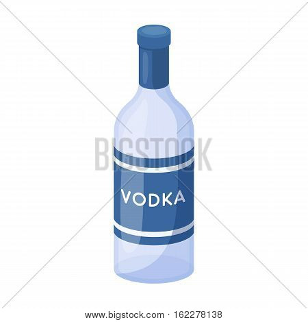 Glass bottle of vodka icon in cartoon design isolated on white background. Russian country symbol stock vector illustration.