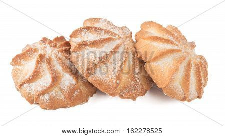 Traditional holiday shortbread isolated on white background. Homemade baking.
