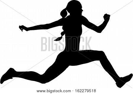 woman athlete jumping triple jump. black silhouette vector illustration