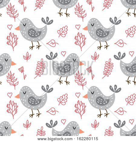 Vector seamless pattern with funny cute birds