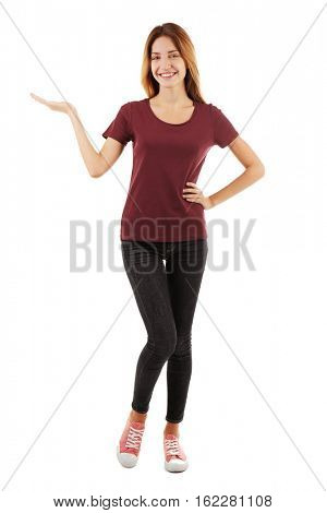 Young woman in blank maroon t-shirt on white background
