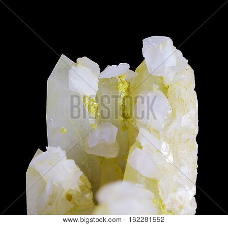 Natural raw Calcite crystal isolated on white
