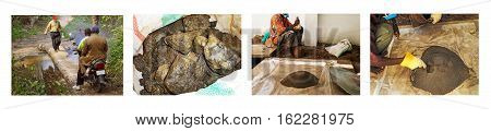The Africa Collage with photos of Coltan in Congo and the Jungle Kisengo