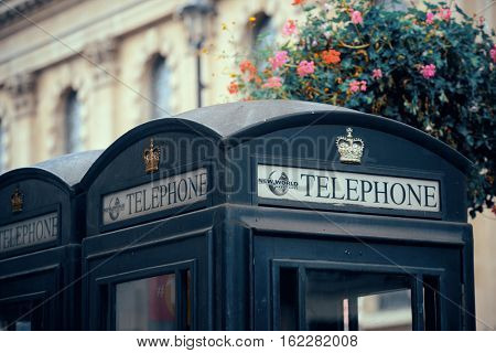 LONDON, UK - SEP 27: London Street view with iconic telephone box on September 27, 2013 in London, UK. London is the world's most visited city and the capital of UK.