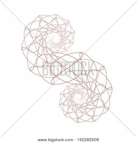 Double red fractal helix composed of curves on white background