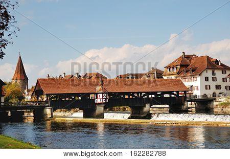 Bremgarten canton Aargau Switzerland - bridge over river Reuss dam