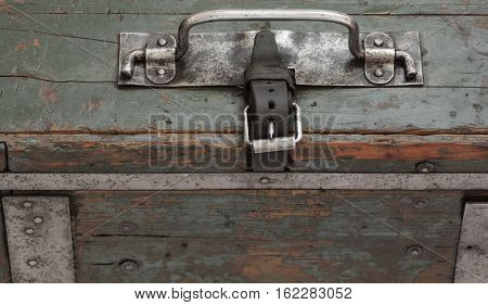 Metal handle on a German military suitcase used in the Second World War