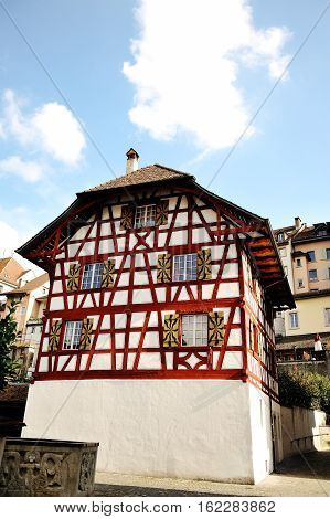 Bremgarten Aargau Switzerland - characteristic timber frame house