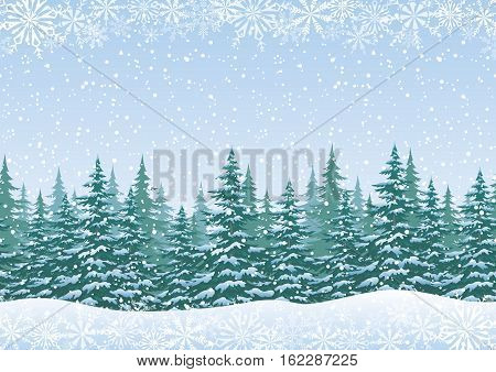 Christmas Holiday Seamless Horizontal Background, Winter Woodland Landscape with Spruce Fir Trees and White Snowflakes. Vector